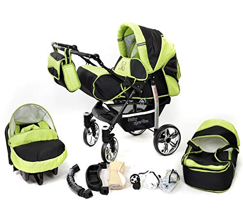 Sportive X2, 3-in-1 Travel System incl. Baby Pram with Swivel Wheels, Car Seat, Pushchair & Accessories (3-in-1 Travel System, Black & Green)