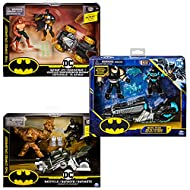 BATCYCLE VEHICLE: The Batcycle is ready to destroy CLAYFACE Equipped with army green and silver accents, BATMAN's signature tech and a detailed wing sculpt in the rear, this bike is unstoppable 4-INCH EXCLUSIVE ACTION FIGURES: The Batcycle includes B...