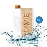 LaVie Premium - Purificador de Agua en Bambú con luz UVA que funciona Sin Consumibles. Transforme su Agua del Grifo en Agua Pura y Deliciosa en 15 minutos. Capacidad 1L