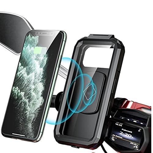 BTSEURY Soporte de teléfono de motocicleta, cargador inalámbrico impermeable, soporte inalámbrico Qi/tipo C para motocicleta, cargador inalámbrico para smartphone de hasta 3.5 a 7 pulgadas