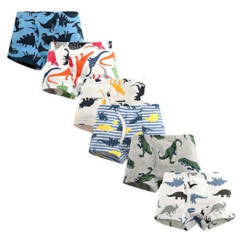 LPATTERN Baby/Kleinkind/Kinder Jungen 6er Pack Baumwolle Unterwäsche Unterhose Höschen Schlüpfer Boxshorts, Dinosaurier+ Streifen Shorts, 104-110(Label:110)