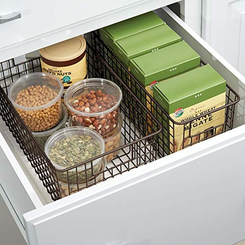 """mDesign Narrow Farmhouse Decor Metal Wire Food Storage Organizer Bin Basket with Handles for Kitchen Cabinets, Pantry, Bathroom, Laundry Room, Closets, Garage - 16"""" x 6"""" x 6"""" - 2 Pack - Bronze"""