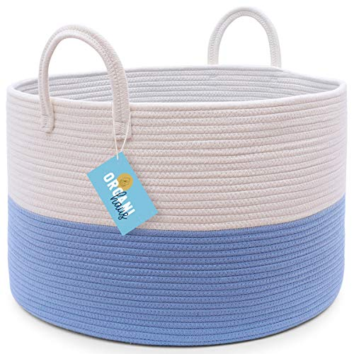 OrganiHaus XXL Extra Large Cotton Rope Basket  20x135 Nursery Storage Basket with Long Handles  Decorative Clothes Hamper Basket  Nursery Organizer Basket Wide White and Blue