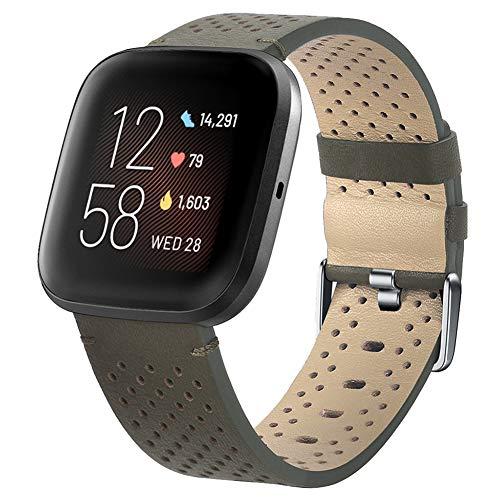 VLUNT Compatible con la Correa Fitbit Versa, Correa de Repuesto de Cuero Genuino con Pasador de liberación rápida Compatible con la Correa Fitbit Versa 2, para la Correa Versa Lite Edition Hom