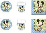 Mickey Mouse Baby celeste, juego de decoración para mesa de fiesta con temática de Mickey Mouse Baby para 8 niños, juego (8 platos, 8 vasos, 20 servilletas)
