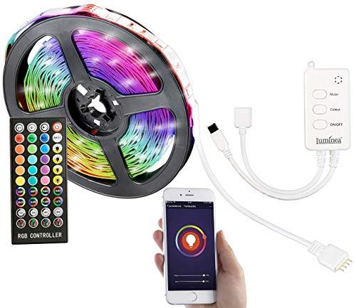 Luminea Home Control Alexa RGB Strip: WLAN-RGB-LED-Streifen mit Sound-Steuerung, App, Sprachsteuerung, 5 m (LED-Lichtbänder Alexa)