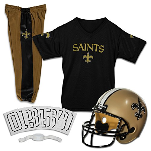 Franklin Sports New Orleans Saints Kids Football Uniform Set - NFL Youth Football Costume for Boys & Girls - Set Includes Helmet, Jersey & Pants - Medium
