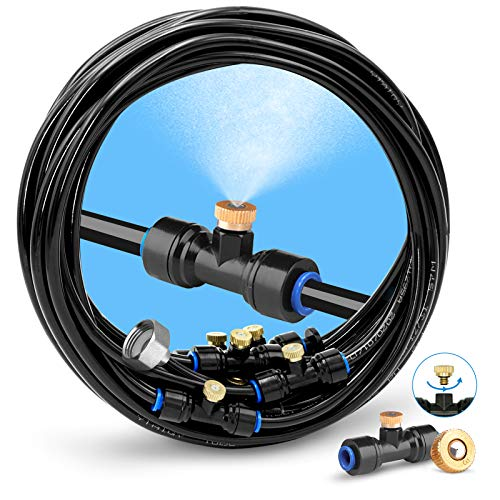 """homenote Misting Cooling System, 26FT (8M) Misting Line + 7 Brass Mist Nozzles + a Brass Adapter(3/4"""") Outdoor Mister for Patio Garden Greenhouse Trampoline for waterpark"""