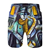 Pantalones Cortos De Playa para Hombres,Ilustración de saxofonista por Eugene ivanov,Pantalones De Chándal De Secado Rápido, Bañador De Verano para Ejercicios Al Aire Libre XL