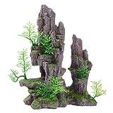 Saim - Decoración para acuario con vista a la montaña, árbol artificial, cueva de roca, paisaje, pecera, decoración
