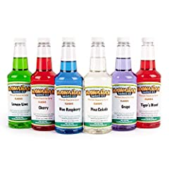 INCLUDED: Six 16-ounce plastic bottles of snow cone syrup – Cherry, Grape, Blue Raspberry, Tiger's Blood, Lemon-Lime, & Pina Colada SERVINGS: Make approximately 50 six-ounce snow cones with the entire kit ALLERGENS: Hawaiian Shaved Ice brand syrups d...