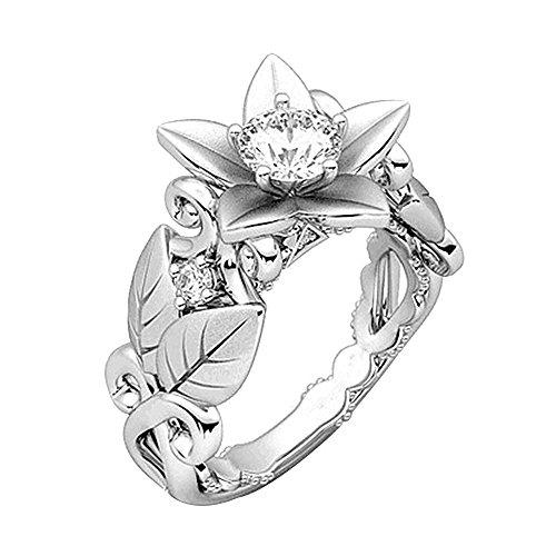 Frauen Schöne Blumen Ring Rose Lucky Flower Blatt Diamant Schmuck Geschenk Ringe YunYoud vergoldete stahlringe billige holzringe doppelring trauring echtschmuck Damen günstig Ring