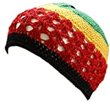 Shoe String King SSK Knit Kufi Hat - Koopy Cap - Crochet Beanie (Rasta – Red, Yellow, Green)