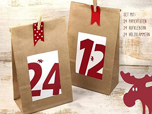 Adventskalender zum Befüllen Set Zahlenaufkleber mit Elch Papiertüte mit Boden Holzklammern