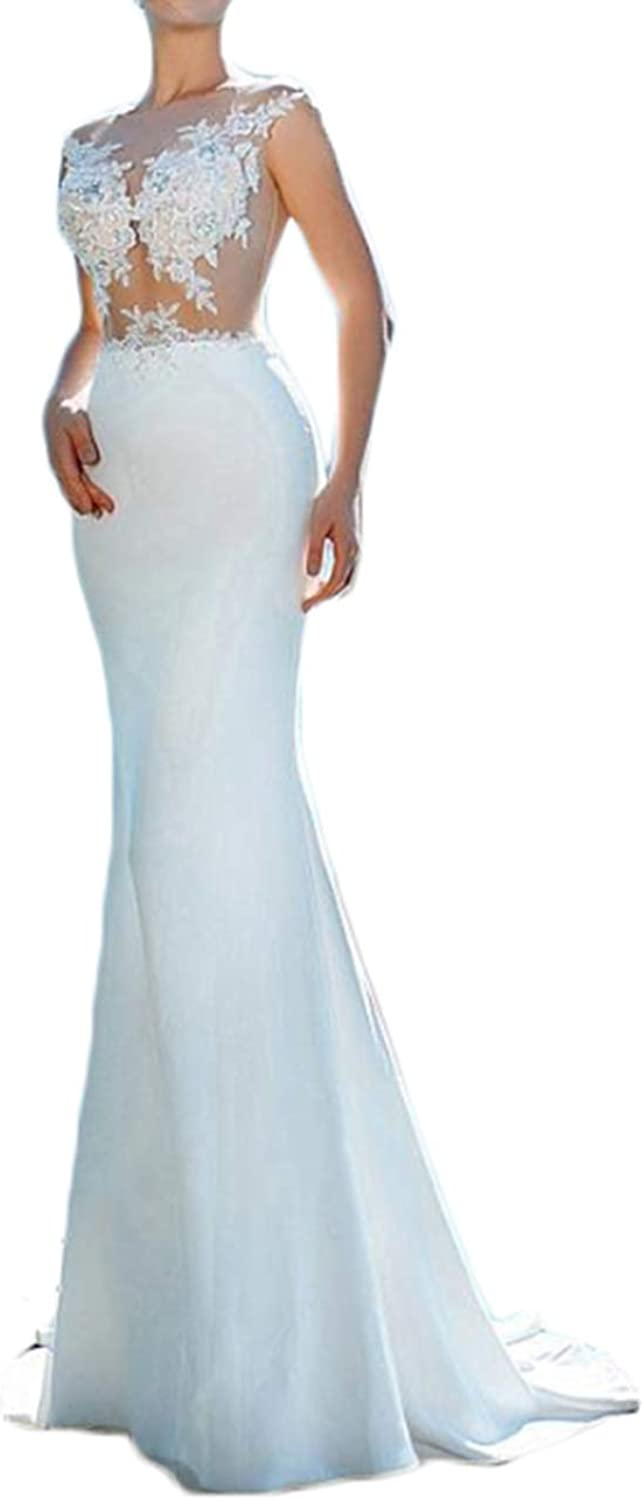 Alilith.Z Sexy Illusion Mermaid Wedding Dresses for Bride Beaded Crystal Appliques Bridal Wedding Gowns for Women