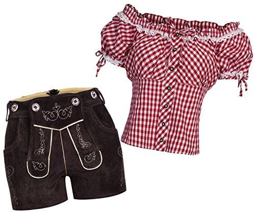 Conjunto tradicional de pantalón de piel corta de color marrón oscuro + tirantes + blusa tradicional Carmenbluse en diferentes colores Rojo blanco a cuadros Pantalones en Cuero 40 + Blusa 38