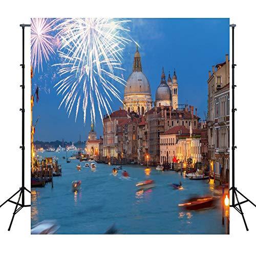 WQYRLJ Seascape slot vuurwerk fotografie backdrops goede glijbaan in het nieuwe jaar foto-achtergrond stof foto achtergrond props 6x10ft C