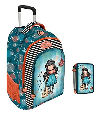 Trolley mochila escolar compatible con Santoro Gorjuss London Grows Love el amor crece + estuche 3 pisos completo + llavero girabrilla + bolígrafos de colores