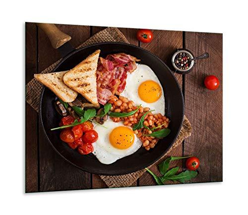 QTA | fornuisafdekplaat 60 x 52 cm keramische afdekking 1-delig universeel elekrofornuis inductie voor kookplaten fornuis bescherming spatbescherming snijplank eten bont hout