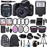 Canon EOS Rebel SL3 DSLR Camera with EF-S 18-55mm f/4-5.6 is STM Lens + 2Pcs 32GB Sandisk SD Memory + Digital Flash + Filter & Macro Kits + Backpack + 50' Tripod + More