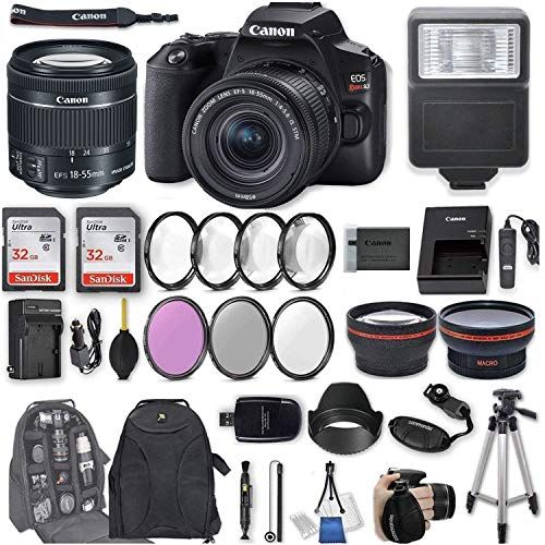 Canon EOS Rebel SL3 DSLR Camera with EF-S 18-55mm f/4-5.6 is STM Lens + 2Pcs 32GB Sandisk SD Memory + Digital Flash + Filter & Macro Kits + Backpack + 50' Tripod + More