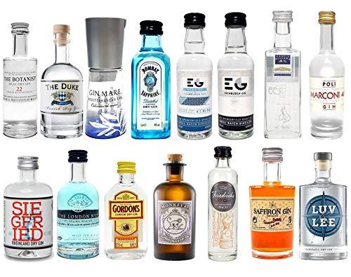 Gin Mini Set Probierset 15er - Saffron + Bombay + Edinburgh + Gin Mare + Gordons + Monkey 47 + Friedrichs + Siegfried + The Botanist + Duke + London No1 + Luv & Lee + Millers + Marconi 46