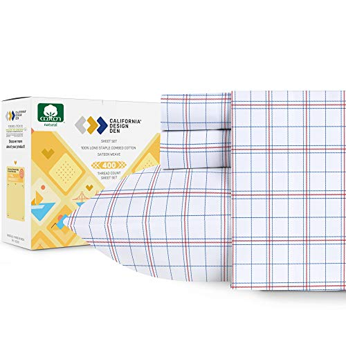 California Design Den Americana Plaid Sheets Queen Size - 400 Thread Count Pure Cotton, Sateen Weave 4 Piece Checkered Bedding Set, Elasticized Deep Pocket Fits Low Profile Foam and Tall Mattresses