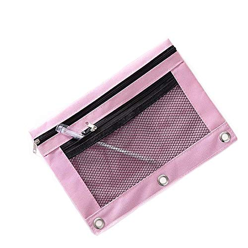 Funny live B5 Size Double Zipper 2 Pocket Pencil Bag, Transparent Mesh File Pouch Case, Zip Binder Pencil Bags Pencil Cases with Rivet Enforced Hole 3 Ring (Pink)