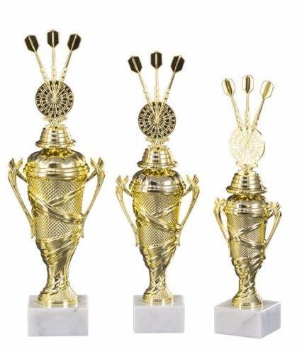 RaRu 3er-Serie Dart-Pokale (Verschiedene Figuren zur Auswahl) mit Wunschgravur und 3 Dart-Anstecknadeln (Sticker) (Mit 3er-Dartpfeilen)