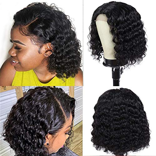 Deep Wave Lace Closure Human Hair Bob Wigs 14 Inch 9A Brazilian Virgin 4x4 Lace Front Human Hair Bob Wigs for Fashions Women Natural Color (14inches)