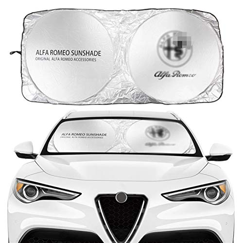 Coche Sun Shade Parasol Parabrisas de coches cubierta de sombra solar Compatible con Alfa Romeo Logo Pattern 159 147 Giulietta Stelvio 4C Mito 156 Accesorios Anti UV Reflector mascotas pueden estar má