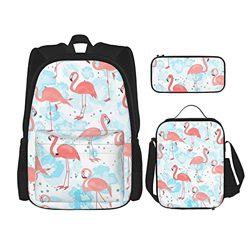 ZHOUWE Light Flamingo Mochila Shouder Bag Lunc Bag Estuche para lápices, bolsas escolares para niños, Flamenco claro, Talla única