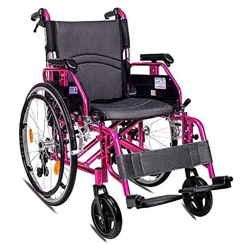 NADAENW Sedia a rotelle Pieghevole di Viaggio di Trasporto del propulsore Manuale di Alluminio del Carrello Pieghevole Leggero della Sedia a rotelle