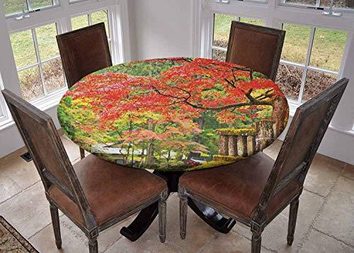 Rond tafelkleed keuken decoratie, tafelblad met elastische randen, Traditioneel Patroon met Golven van Water Foam Splashes Lichtblauw Navy Blauw Wit, Keuken tafelkleed