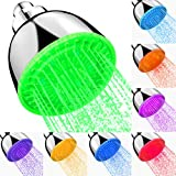 Fixed Shower LED Shower Head High Pressure Rain 7 Color Flash Light, Automatically Changing LED Adjustable Luxury Upgraded Modern Chrome Fixed Flow ShowerHead for Bathroom, Easy Tool-Free Installation
