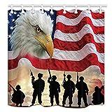 NYMB Duschvorhang, USA-Flagge, amerikanische Militärsoldaten mit Adler Kunstdruck, Stoff, wasserdicht, Unabhängigkeitstag, Duschvorhang, Badezimmer-Zubehör-Sets, Haken enthalten
