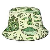 Sombrero de Pescador Unisex Polvo de Pastillas de Algas espirulina de Patrones sin Fisuras Plegable De Sol/UV Gorra Protección para Playa Viaje Senderismo Camping