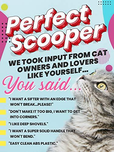 """Sifter w/ Deep Shovel Litter Scoop - Designed by Cat Owners - Durable ABS Plastic Litter Scoop, Scooper."""" Solid Strong Handle. By iPrimio. Patented."""