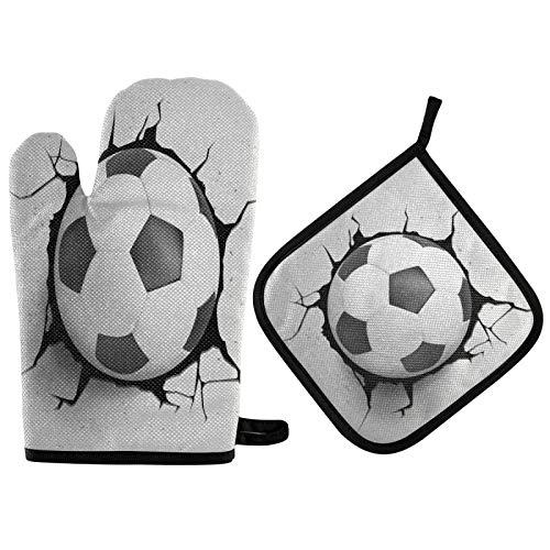 TropicalLife OOWOW - Juego de guantes de horno y agarradera para pelotas de fútbol deportivas, con forro de algodón, resistente al calor, para cocina, hornear, asar a la parrilla, Navidad