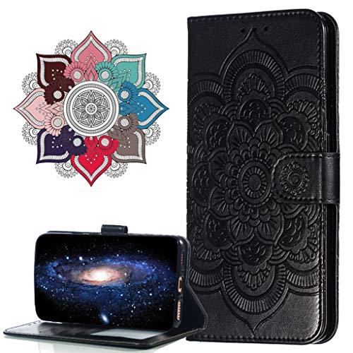 MRSTER Huawei Y6 2018 Custodia Flip, Goffratura Design Case in PU Pelle Internamente Silicone TPU Cover Portafoglio Cover Premium Custodia per Huawei Y6 2018 / Honor 7A. LD Mandala Black