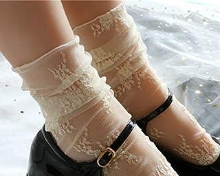 Socks Ladies Breathable Transparent Floral Lace Socks Sweet Mesh Fishnet Socks(Beige) 2020 (Color : Beige, Size : One Size)