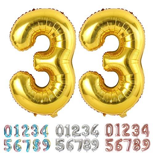 Ponmoo Foil Globo Número 33 Dorado, Gigante Numeros 0 1 2 3 4 5 6 7 8 9 10-19 20-29 30-39 40 50 60 70 80 90 100, Grande Globos para La Boda Aniversario, Globo de Cumpleaños Fiesta Decoración