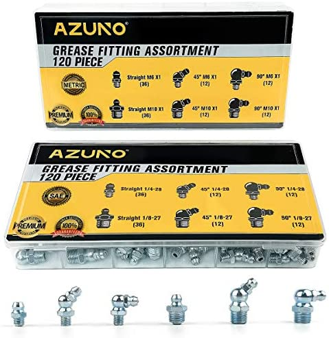 AZUNO Hydraulic Grease Fittings 240 Pieces SAE Metric Grease Fitting Assortment with 120 PCS product image