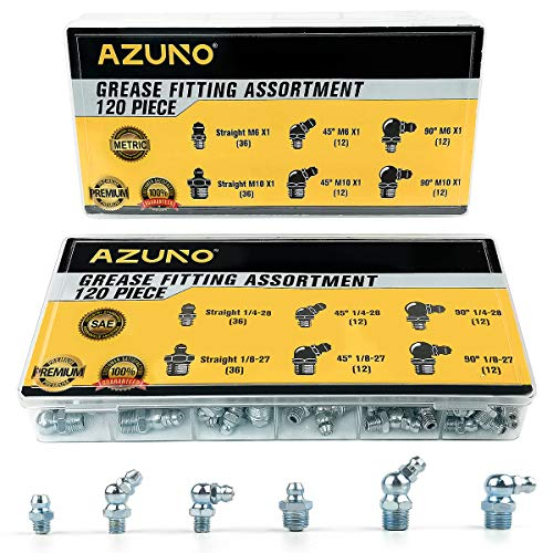 AZUNO Hydraulic Grease Fittings, 240 Pieces SAE & Metric Grease Fitting Assortment with 120 PCS Grease Fitting Caps, Standard Grease Gun Fittings Perfect for Replacing Missing or Broken Zerk Fitting