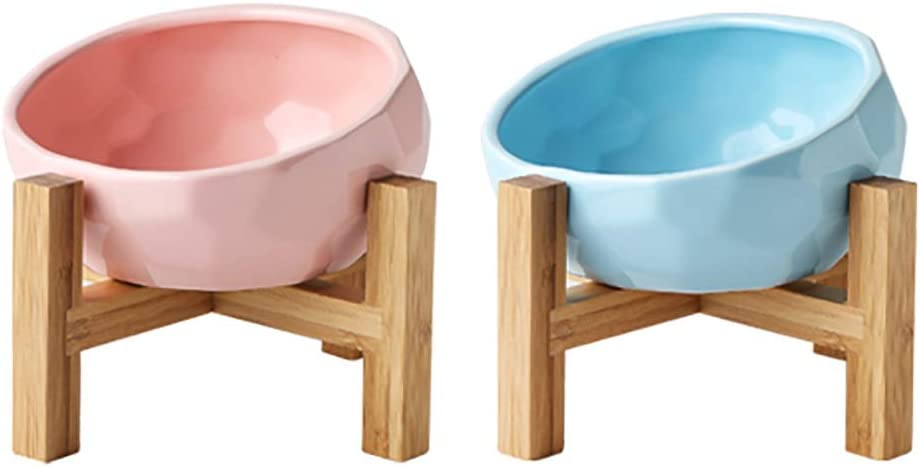 Fashion All stores are sold Double Dog Bowl Max 81% OFF Ceramic Set Feeder Water E Food Cat