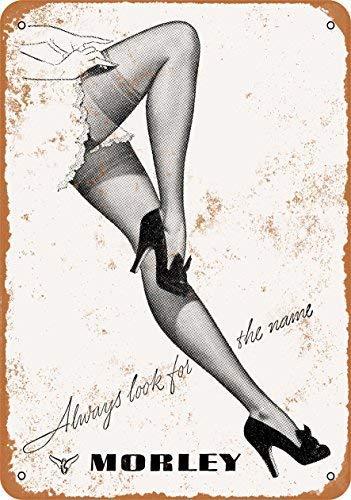 Donjie 1950 Morley Nylon-Strümpfe, lustiges Retro-Blechschild für Bar, Küche, Mann, Höhle, Familienclub, Garage, Wanddekoration, 20,3 x 30,5 cm