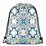 Jiger Drawstring Tote Bag Gym Bags Storage Backpack, Tunisian Mosaic with Azulojo Spanish Influence Authentic Arabesque Inspired Artwork,Very Strong Premium Quality Gym Bag for Adults & Children