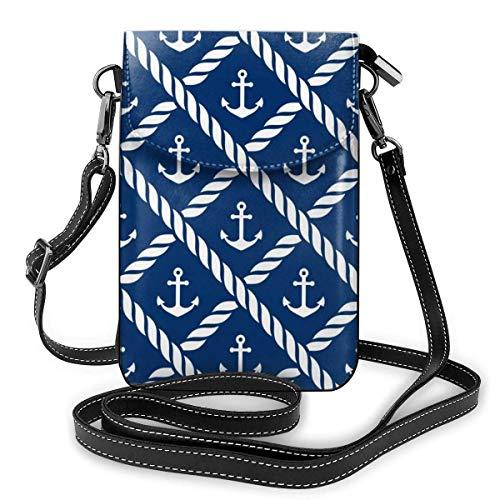AOOEDM Small Cell Phone Purse Elegante estilo náutico Chevron Net Azul marino Monedero para teléfono celular Monedero Bolsillo grande Bolsos cruzados pequeños Correa de hombro ajustable Bolsa para t