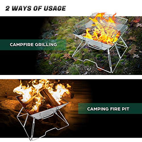 Odoland Folding Campfire Grill, Camping Fire Pit, Outdoor Wood Stove Burner, 304 Premium Stainless...