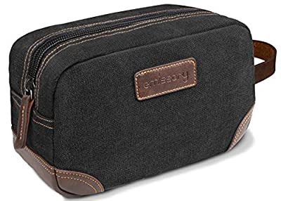 emissary Men's Toiletry Bag | Leather and Canvas Travel Toiletry Bag | Dopp Kit for Men | Shaving Bag for Travel Accessories